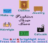 Rugrats: Totally Angelica Game Boy Color Fashion Show Menu
