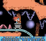Rugrats: Time Travelers Game Boy Color Riding a mine cart.