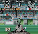 Supercross Freestyle Game Boy Color Making a jump.