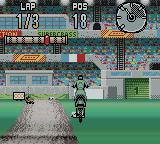 Supercross Freestyle Game Boy Color Landing off the road.