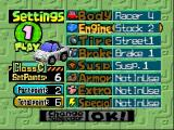 Penny Racers Nintendo 64 Changing parts screen