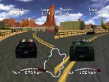 Roadsters Nintendo 64 2-player race (horizontal split screen)