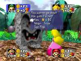 Mario Party Nintendo 64 Giving 10 coins to clear the path.