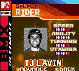 MTV Sports: T.J. Lavin's Ultimate BMX Game Boy Color Rider selection