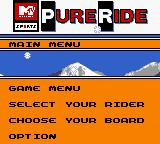 MTV Sports: Pure Ride Game Boy Color Main menu