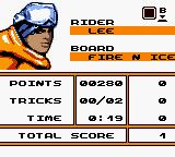 MTV Sports: Pure Ride Game Boy Color The end of level ranking.