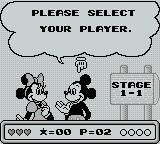 Mickey's Dangerous Chase Game Boy Player selection