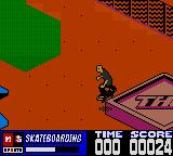 MTV Sports: Skateboarding featuring Andy Macdonald Game Boy Color Grinding on a block with the logo of the capitalist fat cat.
