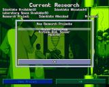 X-COM: Terror from the Deep PlayStation Research menu. You need to research both human and alien technologies in order to survive the alien attacks.