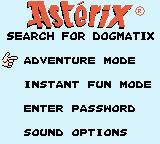 Astérix: Search for Dogmatix Game Boy Color Main menu