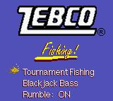 Zebco Fishing! Game Boy Color Title screen... RUMBLE ON!
