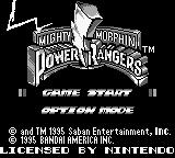 Mighty Morphin Power Rangers: The Movie Game Boy Title screen