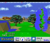 True Golf Classics: Wicked 18 SNES The golf ball is in mid-air.