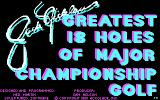 Jack Nicklaus' Greatest 18 Holes of Major Championship Golf DOS Title screen (CGA)