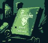Pinocchio Game Boy Title screen and main menu