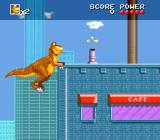 We're Back!: A Dinosaur's Story SNES Trying to jump on top of a building.