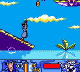 Inspector Gadget: Operation Madkactus Game Boy Color Gadget skies down a slope.