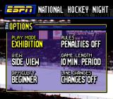 ESPN National Hockey Night SNES Options