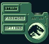 The Lost World: Jurassic Park Game Boy Main menu