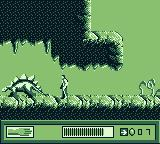 The Lost World: Jurassic Park Game Boy Fighting a stegosaurus.