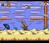 Rocko's Modern Life: Spunky's Dangerous Day SNES Using a beach chair to bounce Spunky into the air