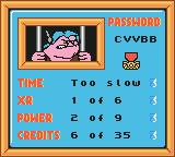 Disney•Pixar Buzz Lightyear of Star Command Game Boy Color Level 1's stat screen and password.