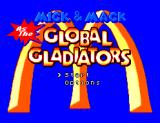 Mick & Mack as the Global Gladiators SEGA Master System Title screen and main menu