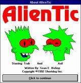 AlienTic Windows 3.x Game startup / About screen. Say, those two look familiar!