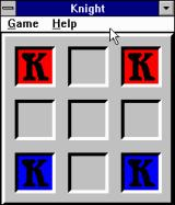 Brain Games For Windows Windows 3.x Knight's only puzzle. You have to move the Red Ks below and the Blue Ks to the top.