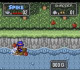The Twisted Tales of Spike McFang SNES Riding a raft.