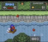 The Twisted Tales of Spike McFang SNES A fish taking a bite out of Spike.