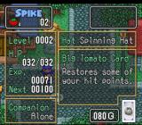 The Twisted Tales of Spike McFang SNES Status screen