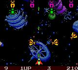 Galaga: Destination Earth Game Boy Color Numerous vermin pop up everywhere.