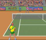 David Crane's Amazing Tennis SNES The shot was out, as determined by the judge in back.