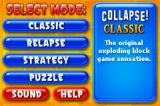 Super Collapse! II Game Boy Advance Main menu