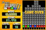 Super Collapse! II Game Boy Advance Game over