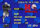 College Football USA 97 Genesis Creating a player.