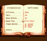 Pinocchio Genesis Options menu as a book