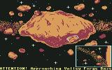 Aliants: The Desperate Battle For Earth! Commodore 64 Approaching the Valley Forge Asteroid Base.