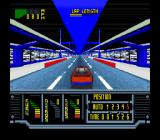 Kyle Petty's No Fear Racing SNES On a straightaway