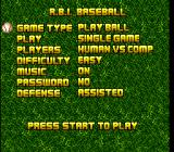 Super R.B.I. Baseball SNES Main menu