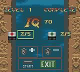 Indiana Jones and the Infernal Machine Game Boy Color Level 1 completed. Between levels you can buy supplies with IQ points.