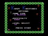Krazy Kreatures NES Game options