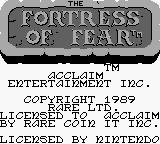 Wizards & Warriors X: Fortress of Fear Game Boy Title screen