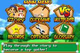 Mario Golf: Advance Tour Game Boy Advance Main Menu