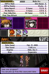 The World Ends with You Nintendo DS The save game menu