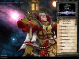 Warhammer 40,000: Dawn of War - Soulstorm Windows Main Menu - Portraying the default animated Sisters of Battle heroine.