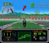 GP-1 SNES The arrow tells that a curve is up ahead
