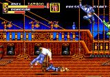 Streets of Rage 2 Genesis Stage 3: Finishing Donovan with a throw on the pirate ship, while two ninja's are ready to attack