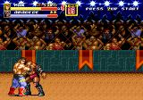 Streets of Rage 2 Genesis Max grabs Abadede, the powerful boss of stage 4, and hits him with a bear punch